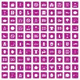 100 rosa färger för grunge för idrottshallsymboler fastställda Royaltyfri Bild