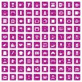 100 rosa färger för grunge för köksgerådsymboler fastställda Royaltyfria Foton