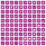 100 rosa färger för grunge för on-line seminariumsymboler fastställda Arkivfoton