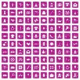100 rosa färger för grunge för lyckliga symboler för kvinna fastställda Royaltyfri Bild