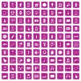 100 rosa färger för grunge för pekskärmsymboler fastställda Arkivbilder