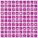 100 rosa färger för grunge för servicesymboler fastställda Royaltyfri Fotografi