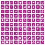 100 rosa färger för grunge för showbusinesssymboler fastställda royaltyfri illustrationer