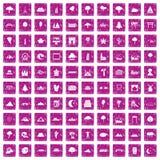 100 rosa färger för grunge för siktssymboler fastställda Fotografering för Bildbyråer