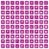100 rosa färger för grunge för skogsarbetaresymboler fastställda Arkivfoto