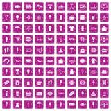100 rosa färger för grunge för sommarshoppingsymboler fastställda Arkivfoton