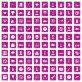 100 rosa färger för grunge för spänningssymboler fastställda Royaltyfri Foto