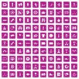 100 rosa färger för grunge för sportjournalistsymboler fastställda stock illustrationer