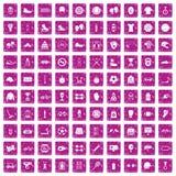 100 rosa färger för grunge för sporttillbehörsymboler fastställda stock illustrationer