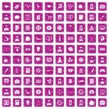 100 rosa färger för grunge för statistikdatasymboler fastställda Royaltyfri Bild