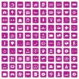 100 rosa färger för grunge för sweepstakesymboler fastställda Arkivfoton