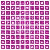 100 rosa färger för grunge för symboler för affärsdag fastställda Royaltyfri Fotografi