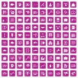 100 rosa färger för grunge för symboler för affärsprocess fastställda Arkivbild