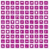 100 rosa färger för grunge för symboler för bästa hatt fastställda Arkivfoton