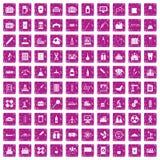 100 rosa färger för grunge för symboler för kemisk bransch fastställda Royaltyfri Bild