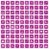 100 rosa färger för grunge för symboler för lagbyggnad fastställda Royaltyfri Fotografi