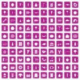 100 rosa färger för grunge för symboler för livsmedelsbutikshopping fastställda Royaltyfri Foto