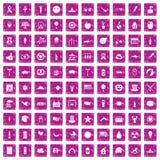 100 rosa färger för grunge för symboler för sommarferier fastställda Arkivbild