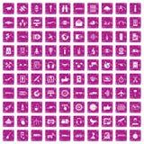 100 rosa färger för grunge för symboler för trådlös teknologi fastställda Royaltyfri Fotografi