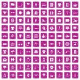 100 rosa färger för grunge för t-skjorta symboler fastställda stock illustrationer