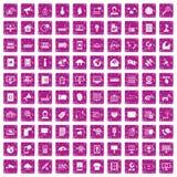 100 rosa färger för grunge för telekommunikationsymboler fastställda Royaltyfria Bilder
