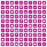 100 rosa färger för grunge för TVsymboler fastställda Royaltyfria Foton