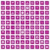 100 rosa färger för grunge för vägmärkesymboler fastställda vektor illustrationer