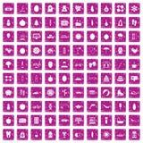 100 rosa färger för grunge för vård- symboler för kvinnor fastställda Royaltyfri Bild