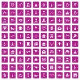 100 rosa färger för grunge för valentindagsymboler fastställda Arkivfoto