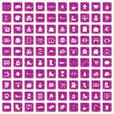100 rosa färger för grunge för vintershoppingsymboler fastställda Arkivfoton