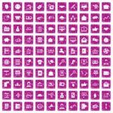100 rosa färger för grunge för virus- marknadsföringssymboler fastställda Arkivbilder