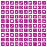 100 rosa färger för grunge för webdesignsymboler fastställda Fotografering för Bildbyråer