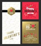 Rosa färger för guld för uppsättning för kort för hälsning för valentindag retro stock illustrationer