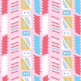 Rosa färger för Memphis Style Geometric Abstract Seamless vektormodell flickaktigt stock illustrationer