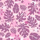 Rosa färger för modell för tropisk hipsterdjungelpalmblad sömlösa Arkivbilder