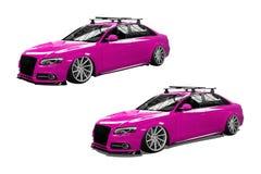 Rosa färger isolerad modern bil Arkivbild
