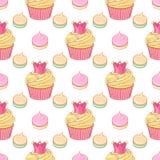 Rosa färger krönar muffin- och marängvektorn den sömlösa modellen stock illustrationer