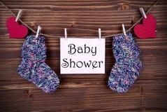 Rosa färger märker med baby shower Fotografering för Bildbyråer