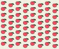 Rosa färger mönstrar med äpplen Arkivfoto