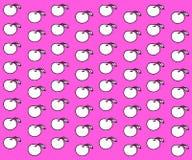 Rosa färger mönstrar med äpplen Royaltyfri Bild