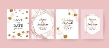 Rosa färger marmorerar och guld- texturbakgrund, kort stock illustrationer