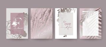 Rosa färger marmorerar textur-, blomma- och palmbladkortdesign vektor illustrationer