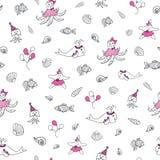 Rosa färger nautisk vektormodell för svartvitt hav royaltyfri illustrationer