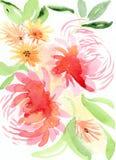 Rosa färger och orange blom- illustration Arkivfoto
