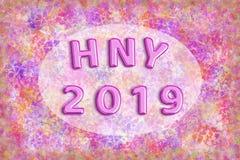 Rosa färger omkullkastar ballongen med ramordet HNY 2019 på färgglat abstrakt begrepp Royaltyfri Bild