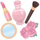 Rosa färger parfymerar och skönhetsmedeltillbehören Arkivbilder