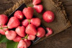 Rosa färger steg äpplet på trätabellen royaltyfri foto