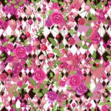 Rosa färger steg blommor med sidor och svartvita romber för olikt format vektor illustrationer