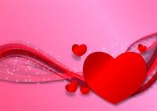 Rosa färger vinkar abstrakt bakgrund, vektorillustration med kopieringsutrymme, begrepp för dag för valentin` s Royaltyfri Fotografi