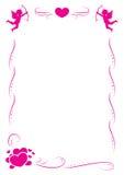 Rosa färgförälskelseram med hjärta och ängel stock illustrationer
